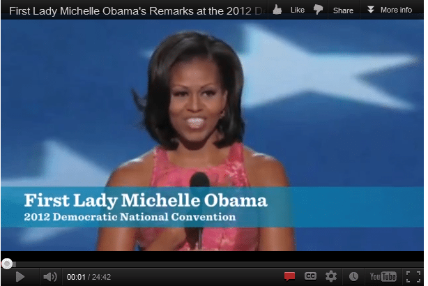 Michellevideo1 True/False Friday: The First Ladys an even better speaker now than she was in 2008. %page