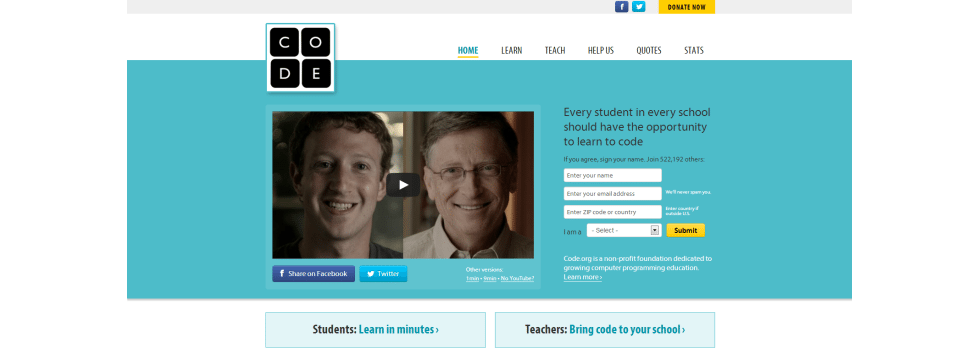 code org Call to Action   The Power of Video %page
