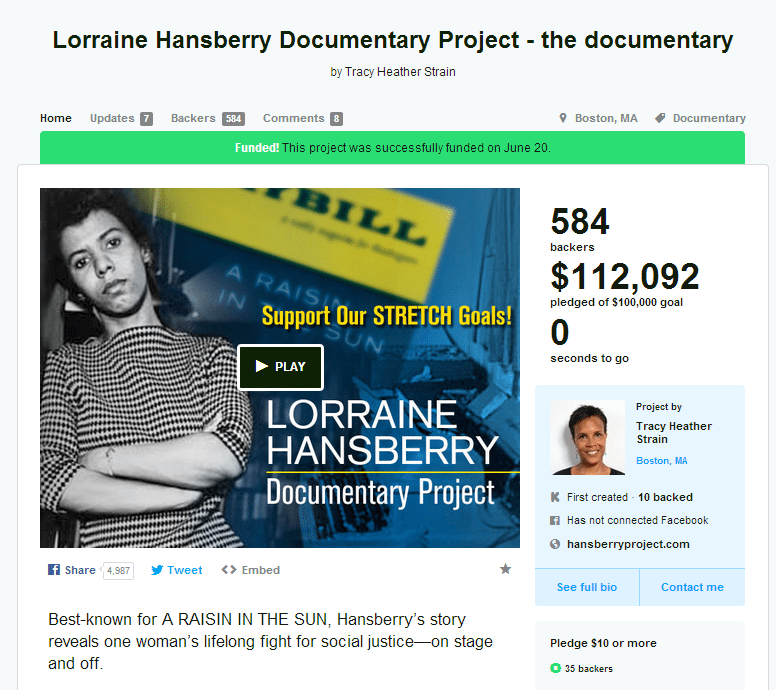 LorraineHansberryDocumentaryProjectKickstarter Crowdfunding and Video Are a Match Made in Heaven %page