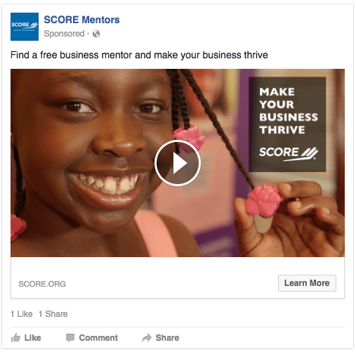 SCORE FB Screenshot Video advertising — Is it in your nonprofit marketing toolkit? %page