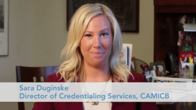Sara Duginske 400x225 Credentialing Exam Tips Video   CAMICB %page