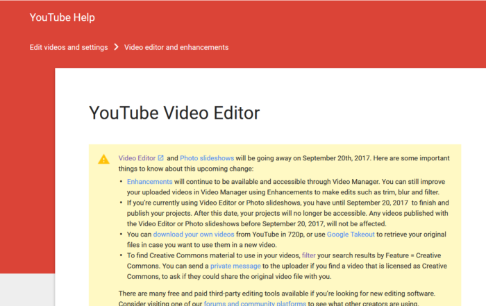 YouTube Video Editor Ending Sept 20 Warning 700x441 Home   copy %page