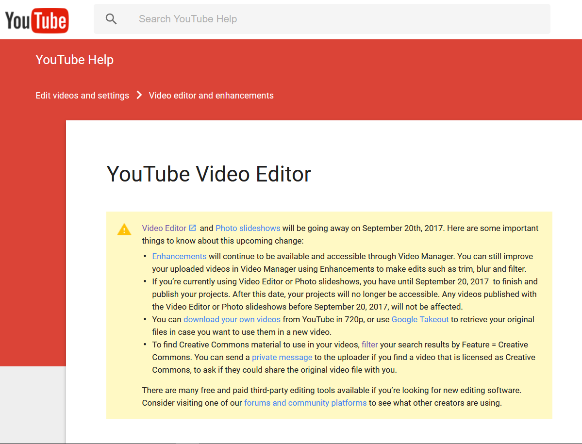 YouTube Video Editor Ending Sept 20 Warning YouTube Editor and YouTube Slideshows News %page
