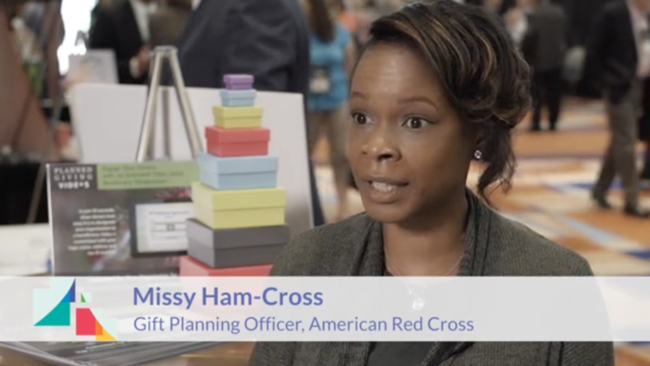 Missy Ham Cross on the National Association of Charitable Gift Planners 2018 Conference event marketing video Portfolio %page