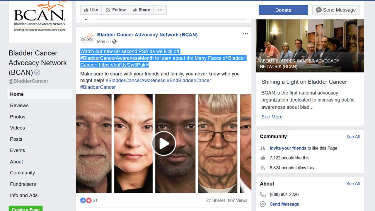BCAN May 5 2018 Facebook post showing its health PSA video Health PSA %page