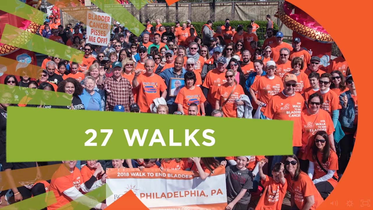 Philadelphia walkers from one of 27 walks of the Bladder Cancer Advocacy Networks 2018 Walk to End Bladder Cancer Charity Walk Video %page