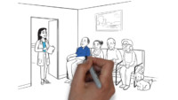 video inspiration idea of a hand animating a video showing older patients in a doctor office waiting room 200x113 Six Types of Video Inspiration %page