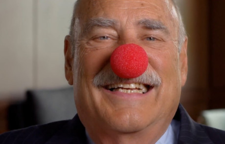 alumni giving video with planned giving donor chuck tatelbaum wearing clown nose 460x295 Video Marketing and Storytelling at Your Level of Budget and Expertise %page