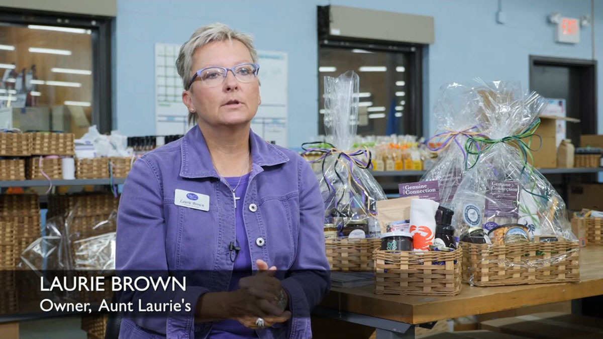 social impact entrpreneur Laurie Brown helps people with disabilities make gift basket items Social Impact Video %page