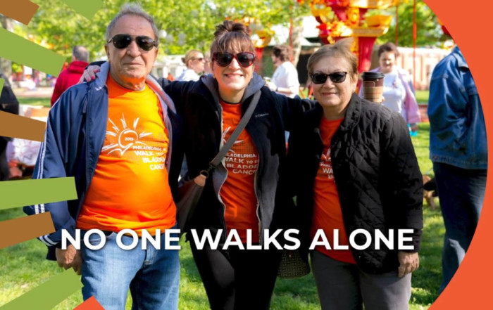 no one walks alone image charity walk participants BCAN virtual fundraiser videos