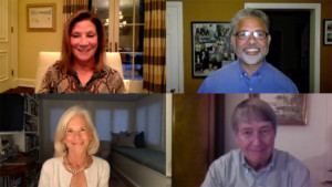 virtual event programs video showing four online participants from the barker adoption agency 300x169 Virtual Event Programs   5 Special Moments for Professional Video %page