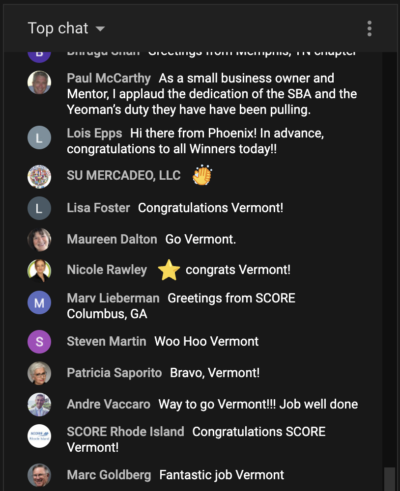 YouTube Premiere Chat for SCORE Virtual Event