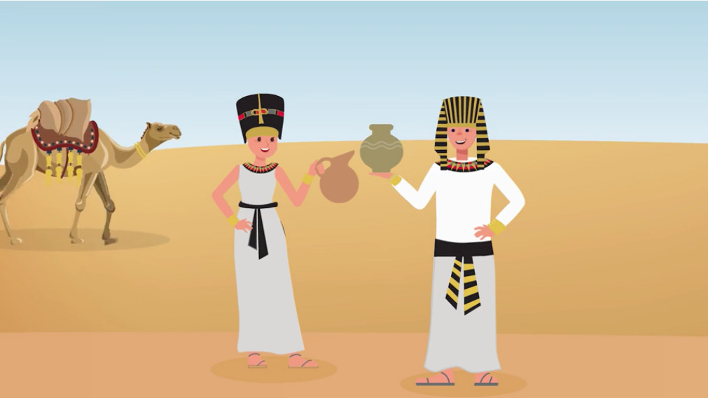 bequests animated video ancient egyptians holding vases camel walks behind Bequests Animated Video %page