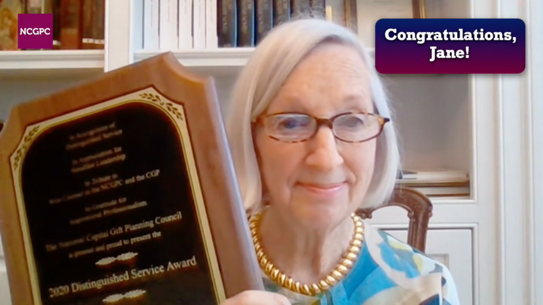 virtual awards video congratulates distinguished service awardee for national capital gift planning council Virtual Awards Video %page